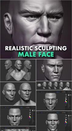 Video course: Sculpting a Realistic Male Face in ZBrush 3d Face, Male Face, Zbrush Tutorial, Digital Sculpting, Video Game Development, Modeling Techniques, Cg Artist, Digital Art Tutorial, Best Teacher