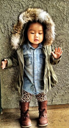Rainy day wear Hooded faux-fur line anorak : Old Navy, denim shirt : H, leopard leggings : Children's Place, wingtip boots : Old Navy