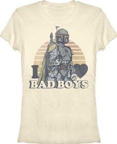 Amazon.com: Star Wars I (Heart) Love Bad Boys Bad Bobba Ivory Juniors T-shirt: Clothing