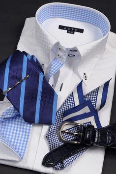 夏の鉄板!爽やかなブルー系のコーディネート。 #mens #shirtstyle #mens coordinate #mens fashion #dress shirt  #メンズファッション #メンズコーディネート #ワイシャツ  #Tie #necktie #ネクタイ #タイドアップ