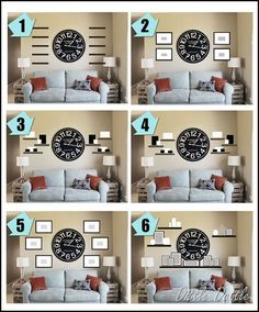to Decorate Living Room Walls Finally! I was looking for ideas on how to decorate around a large wall clock. I was looking for ideas on how to decorate around a large wall clock. Living Room Clocks, Home Living Room, Living Room Decor, Decorating A Large Wall In Living Room, Decor For Large Wall, Gallery Wall Living Room Couch, How To Decorate Living Room Walls, Living Room Wall Shelves, Living Walls