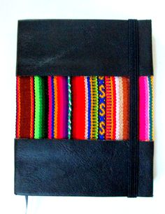 Blank Journal Native South American Fabric Notebook Paper Elastic Strap Handmade