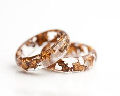 Resin Ring Copper Gold Flakes Small Smooth Ring Size by daimblond, €21.00