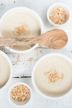 cannellini cauliflower soup with toasted almond and coconut