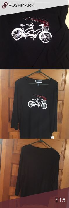 Bike built for 2 top New with tags , original price $36.50. Black shirt with shine, called flirt with fashion.It is 100% cotton. Karen Scott Tops Tees - Long Sleeve