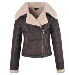 TOPSHOP Celebrity Aviator Leather Shearling Sheepskin Biker Jacket ...