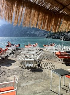 The 'beach' at the il San Pietro hotel where  in Positano