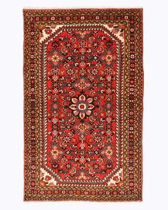 EORC X34813 Red Hand Knotted Wool Malayer Rug (3'5 x 5'7)