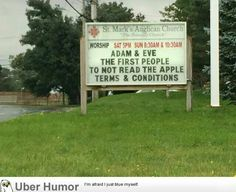 Funny pictures about Adam And Eve Started The Tradition. Oh, and cool pics about Adam And Eve Started The Tradition. Also, Adam And Eve Started The Tradition photos. Funny Church Signs, Funny Signs, Church Humor, Dad Jokes, Funny Jokes, 9gag Funny, Funny Logic, Hilarious Sayings, Hilarious Animals
