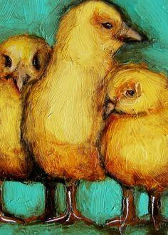 "8 x 10 IN - ""Three Little Chicks"" - Chicken Bird Farm Folk Art Giclee print from my original painting"