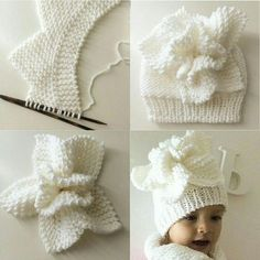 Flower on the baby cap - Knitting a love Baby Knitting Patterns, Baby Hats Knitting, Knitting For Kids, Baby Patterns, Hand Knitting, Knitted Hats, Crochet Patterns, Crochet Baby, Knit Crochet