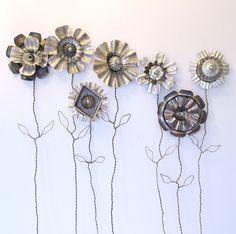 Industrial Repurposed Tinware Collage Flower