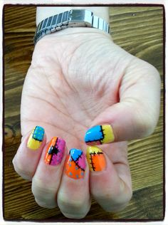 nails desing shellac Patchwork.