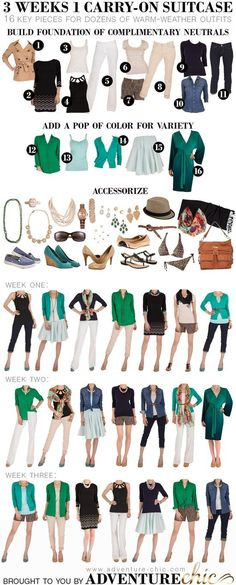 3 Weeks in 1 Carry-On Suitcase (Warm Weather Edition) | This blog has so many beauty & fashion tips for fabulous travels. #aaa #travel #summertravel www.aaa.com/travel