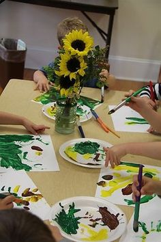 Chasing Cheerios: Painting Sunflowers Like Van Gogh