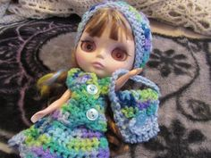 Blythe hat full skirt top and purse doll by hootnnannywhimsnprim