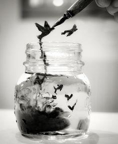 little birds, made of ink