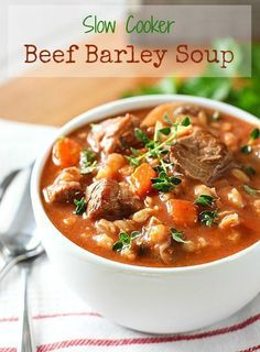 Beef Barley Soup!  A classic fall soup that is perfect for the slow cooker...or stove top!