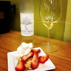 new season strawberries, brown sugar scones and mckinley springs horse heaven hills late harvest chenin blanc