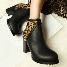 $20.16 Europe and the United States hit color leopard thick with boots high heels Martin boots the nightclub and bare boots cotton women's boots shoes new winter