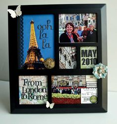 Divided frame + pictures + scrapbooking supplies = unique display