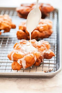 These homemade Apple Fritters are better than any bakery! Light cakey batter and apple pieces make for the perfect donut! Apple Fritters, Homemade Apple Fritters, Homemade Apple Donuts, How to Make Fritters, Bakery Recipes, Donut Recipes, Brunch Recipes, Dessert Recipes, Cooking Recipes, Muffin Recipes, Bread Recipes, Mini Desserts, Delicious Desserts