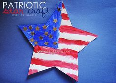 Printable Craft Template - Patriotic Star - from http://LearnCreateLove.com