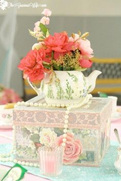Vintage Ideas Tea Party Bridal Shower Ideas for an elegant and beautiful tea party themed bridal shower. Love the mint pink and gold color combination. Pretty and vintage! Teapot Centerpiece, Tea Party Centerpieces, Tea Party Decorations, Bridal Shower Decorations, Centerpiece Ideas, Birthday Decorations, Backyard Decorations, Quince Decorations, Tall Centerpiece
