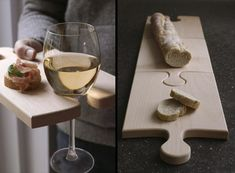 personal cheese tray and wine holder for parties. It would be cool if you could link them together to make a bigger board, not just a longer one.