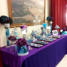 Purple and teal masquerade candy/dessert buffet by Candied Confections
