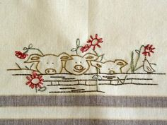 Patterns for Embroidered Dish Towels   ... embroidery pattern set sheep embroidery pattern detail pigs embroidery