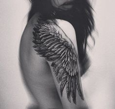 Wing-Tattoo-On-Shoulder-And-Upper-Sleeve Awesome Shoulder Tattoo Designs Great Tattoos, Beautiful Tattoos, New Tattoos, Tribal Tattoos, Girl Tattoos, Tattoos For Women, Tatoos, Female Tattoos, Wing Tattoo On Shoulder