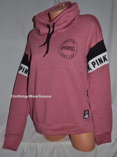 Victoria's Secret PINK High Cowl Neck Pullover Sweatshirt Soft Begonia S, M NIB #PINK #Sweatshirt