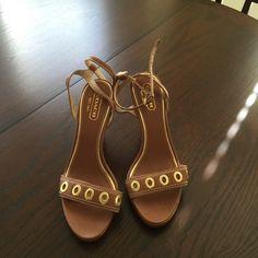 Coach heels Dark tan coach heels. Ankle strap. Worn once. Coach Shoes Heels