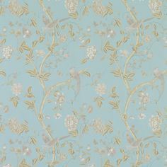 Summer Palace Powder Blue Floral Wallpaper