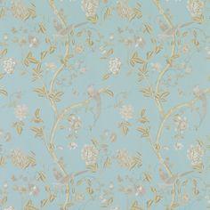 Summer Palace Powder Blue Floral Wallpaper