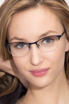 Melody - Browline Navy Frame Glasses For Women Red Frame Glasses, Glasses For Round Faces, Cute Glasses, New Glasses, Oval Faces, Popular Eyeglass Frames, Rimless Glasses, Eyeglasses Frames For Women, Fashion Eye Glasses