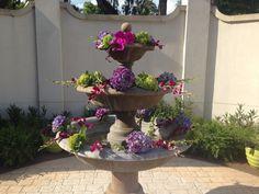 Weddings at Mission San Luis- Tallahassee weddings- Spring wedding- MSL courtyard- decorative fountain- hydrangeas