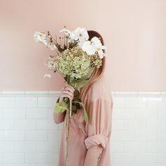 faceless portrait with gorgeous flowers