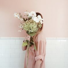 faceless portrait with gorgeous flowers