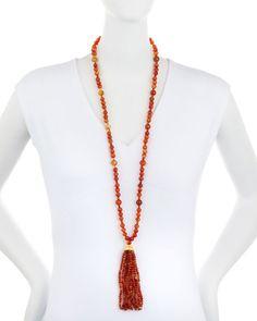 Y31YQ Kenneth Jay Lane Long Tortoise-Hued Beaded Tassel Necklace, Orange/Brown
