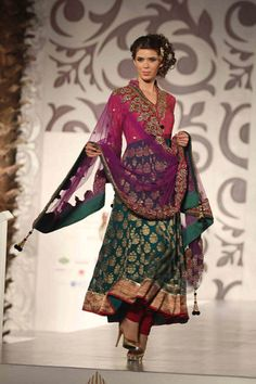 Pink and green Anarkali Salwar kameez