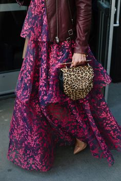 The best street style looks from NYFW Fall 2016 | Floral print dress + maroon leather jacket + cheetah print bag