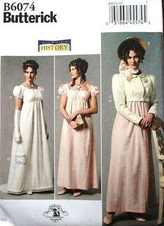 BUTTERICK B6074 Regency Dress Jacket Hat Jane Austen Style Costume Pattern 6-22 in Crafts,Sewing & Fabric,Sewing | eBay