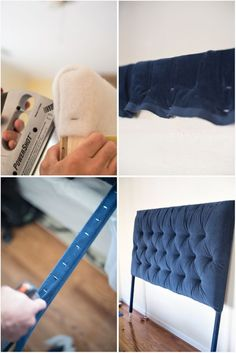 I show you how to make an easy tufted headboard. Great tutorial! Have you ever wondered how to make the deep, diamond tufted headboard? Look no further!