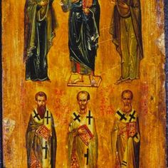 Deesis and Three Hierarchs · The Sinai Icon Collection Saint Catherine's Monastery, Fall Of Constantinople, Greek Icons, Saint Gregory, John Chrysostom, Images Of Christ, Byzantine Icons, Hagia Sophia, John The Baptist