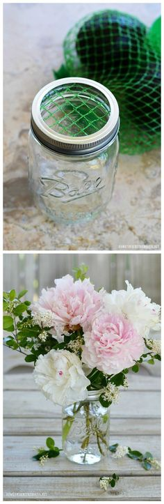 Flower Therapy: Arranging Tips, Tricks, and Medicine for the.-Flower Therapy: Arranging Tips, Tricks, and Medicine for the Soul Garden Bouquet Tips and Flower Arranging Hack using something you usually throw away! Arte Floral, Deco Floral, Floral Design, Pot Mason Diy, Mason Jar Crafts, Craft Projects, Projects To Try, Diy Bouquet, Peonies Bouquet