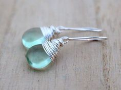 Fluorite Earrings, Sterling Silver Drop, Mint Green, Gemstone Earrings, Christmas Gift Idea. $42.00, via Etsy.