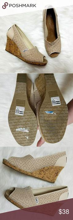 """Toms Stella peep toe wedge heels 9.5 Toms Stella tan peep toe wedge heels. Size 9.5. 3"""" heel. Excellent condition. Toms Shoes Wedges"""