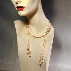 Largo Ángel Skin Coral oro Filled cuerda bolas Lariat collar w / Bonus de greatvintagestuff sobre el Ruby Lane,